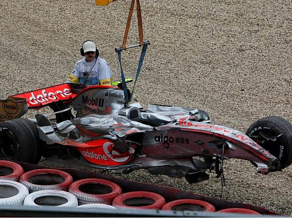 The wreckage of Hamilton's McLaren