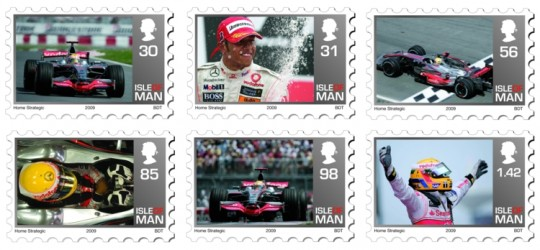 lewishamilton stamps mercedes benz 540x250 Stamps Featuring Lewis Hamilton issued by Isle of Man Post Office